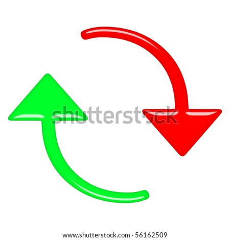 3d circular up and down arrows - stock photo