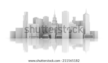 3d city isolated on mirror floor - stock photo
