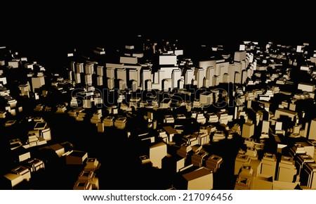 3D city landscape - stock photo