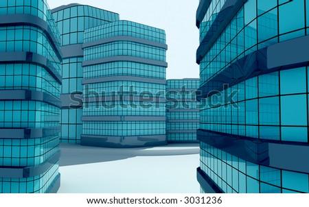 3d--cityscape - stock photo