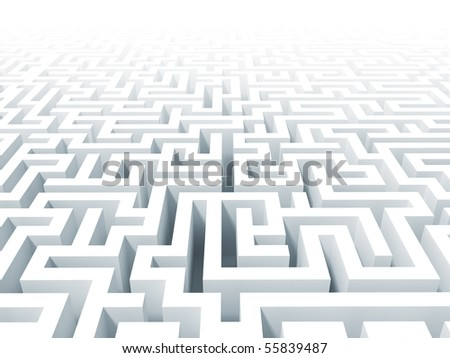 3d classic  white labyrinth background - stock photo
