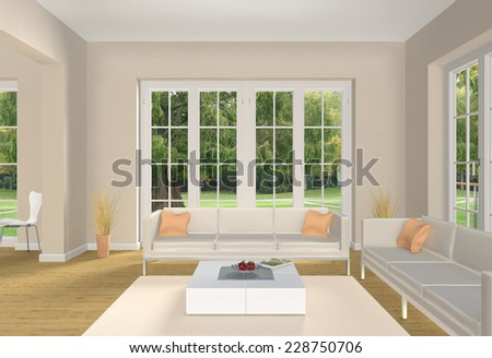 3D classical living room rendering with a view into the garden - stock photo