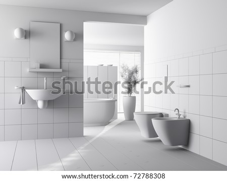 3d clay render of a modern bathroom interior design - stock photo