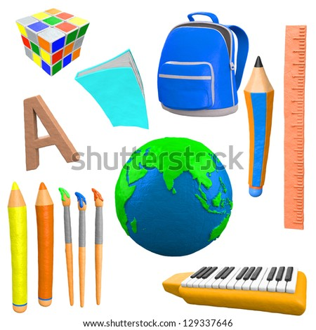 3d clay school objects - stock photo