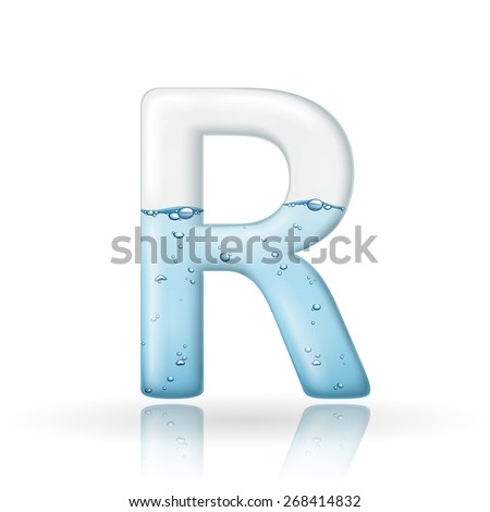 3d clean water letter R isolated on white background
