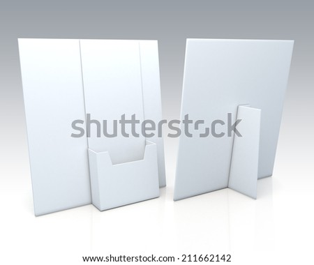 3D clean white brochure holder, desk stand in isolated background with work paths, clipping paths included - stock photo