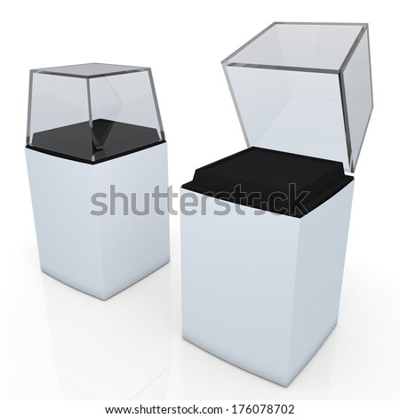 3d clean white label, black base and transparent acrylic box packaging blank template in isolated with clipping paths, work paths included  - stock photo