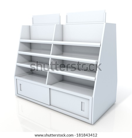 3d clean white store shelves and brand sign new design for products showing in minimart or department store isolated background with work paths, clipping paths included  - stock photo