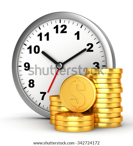 3d clock and coins on white background - stock photo