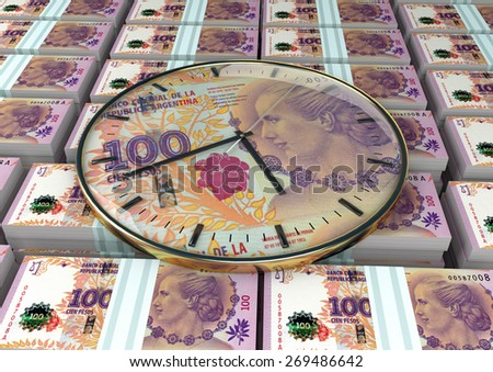 3D clock on piles and stack of Argentina money - stock photo