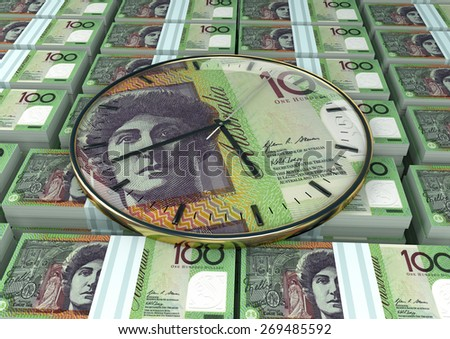 3D clock on piles and stack of Australia money - stock photo