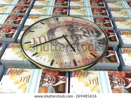 3D clock on piles and stack of israel money - stock photo