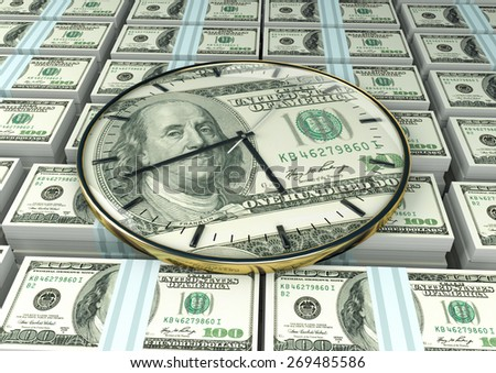 3D clock on piles and stack of United State of America money - stock photo