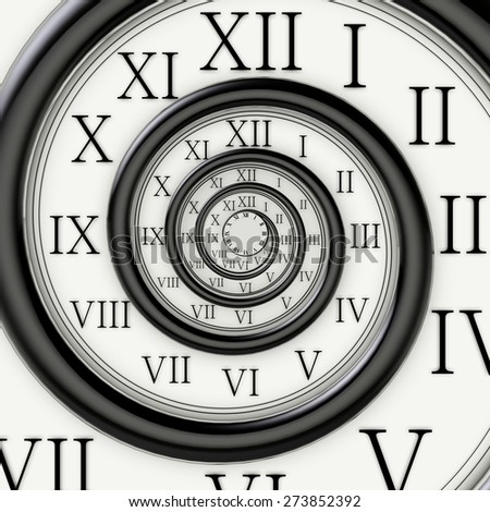 3D. Clock, Time, Spiral. - stock photo