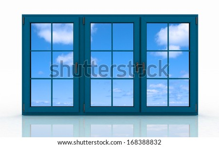 3d closed plastic window on white background - stock photo