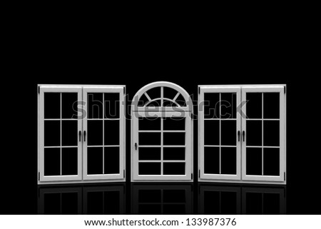 3d closed plastic windows on black background - stock photo