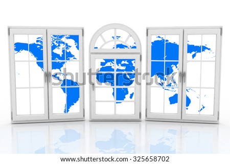 3d closed plastic windows wiht map of world on white background - stock photo