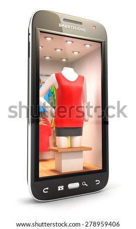 3d clothes shop inside smartphone, isolated white background, 3d image