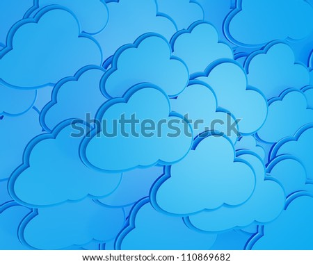 3d cloud computing icon background - stock photo