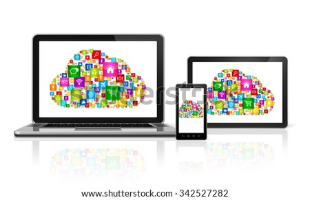 3D Cloud computing symbol in computer devices
