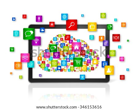 3D Cloud computing symbol in Digital Tablet pc - isolated on white - stock photo