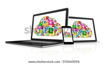 3D Cloud computing symbol in electronic devices - stock photo