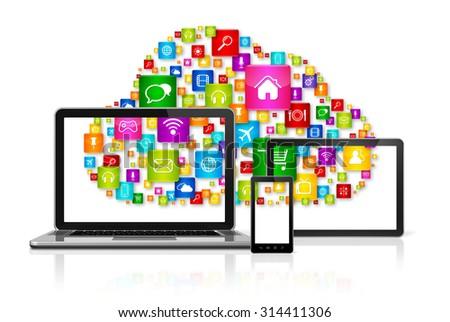 3D Cloud computing symbol on computer set - stock photo