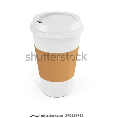 3d Coffee Cup with blank label on white background - stock photo
