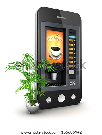 3d coffee machine smartphone, isolated white background, 3d image - stock photo