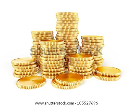 3d coins isolated on a white background - stock photo