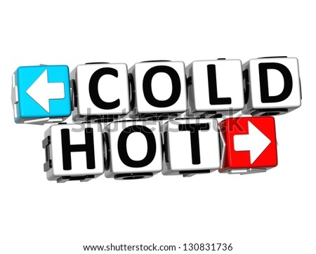 3D Cold Hot Button Click Here Block Text over white background - stock photo