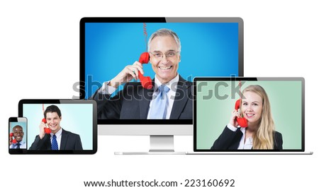3D Collection of Digital Devices with Global Communications Concept - stock photo