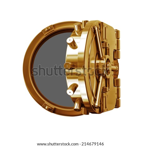 3D collection of gold objects. bank vault door  isolated on white background. High resolution