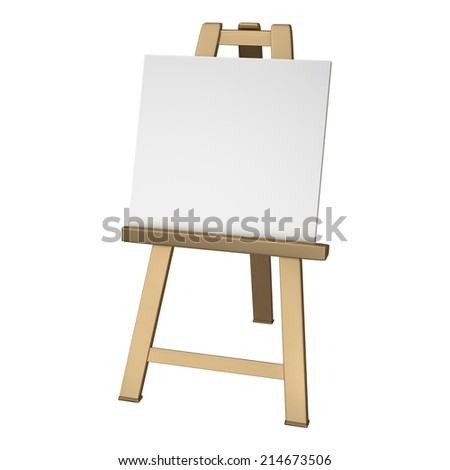 3D collection of gold objects. Blank whiteCanvas on easel isolated on white background. High resolution