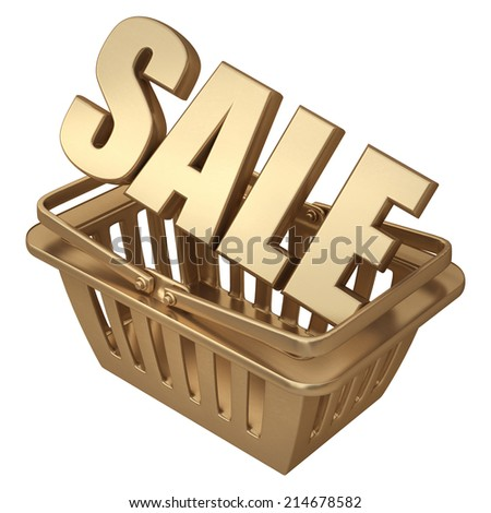 3D collection of gold objects. SALE shopping basket isolated on white background. High resolution