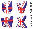 3d collection of UK letters - U V W X - stock photo