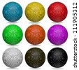 3d color ball set isolated on white background - stock photo