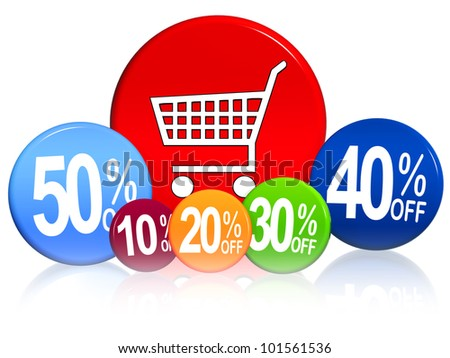 3d color circles with different percentages and cart icon - stock photo