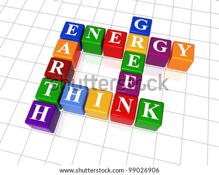 3d color cubes, crossword - energy, Earth, think, green - stock photo