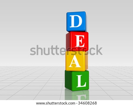 3d color cubes with white letters with text deal with reflection