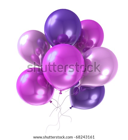 3d color helium balloon on white background - stock photo