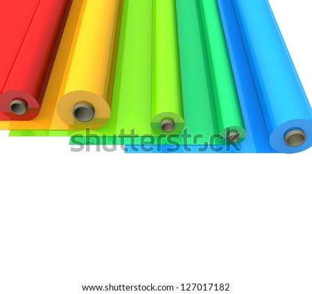 3d Color plastic rolls - stock photo