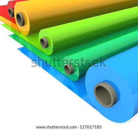 3d Color Plastic Rolls Stock Illustration 127017185 - Shutterstock