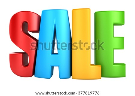 3d color text SALE, isolated over white background