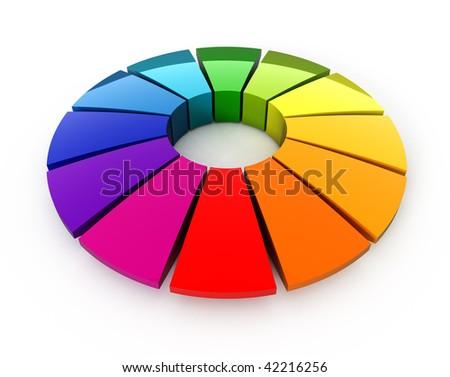 3d color wheel - stock photo