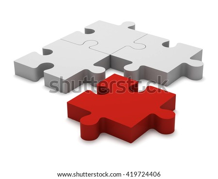 3D color white and red puzzle pieces isolated on white background. Concept renegade, turncoat, outcast. - stock photo