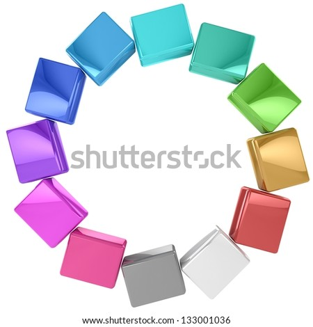 3D Colored cubes. - stock photo