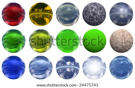 3d colored glass spheres isolated on white background,ideal for 3D symbols, signs or web buttons. They are spheres reflecting a blue sky with clouds - stock photo