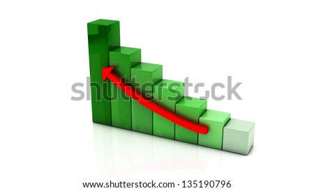 3d colored graph with an upward arrow on white background