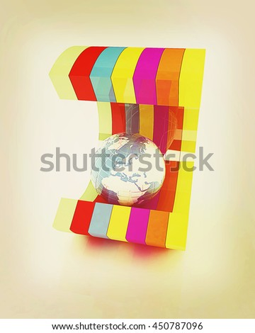 3d colorful abstract shape and Earth on a white background. 3D illustration. Vintage style. - stock photo